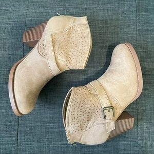Tan Faux Suede Booties with Buckle